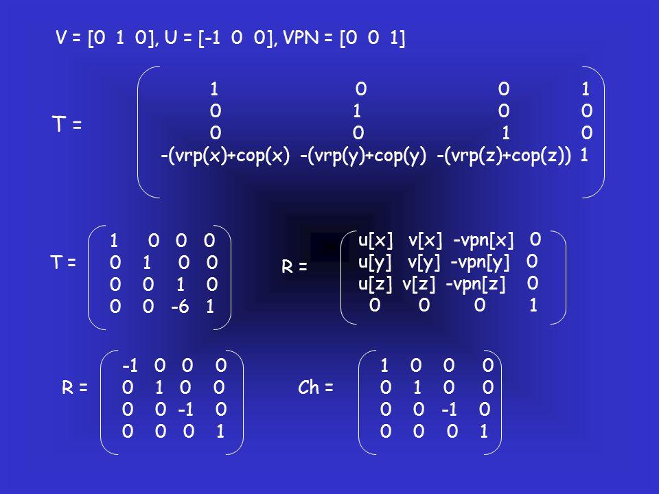 V = [0 1 0], U = [-1 0 0], VPN = [0 0 1] 1 0 0 1.